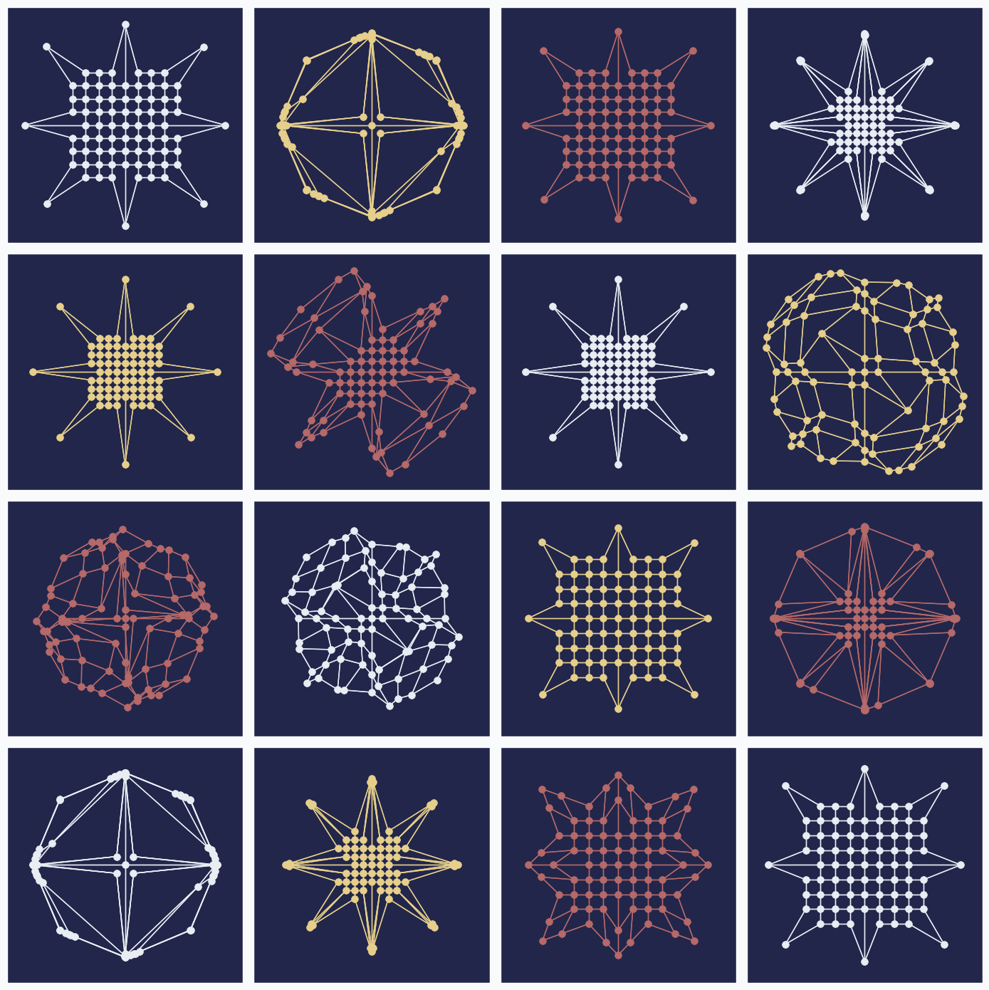 16 randomly generated patterns with SOFM network